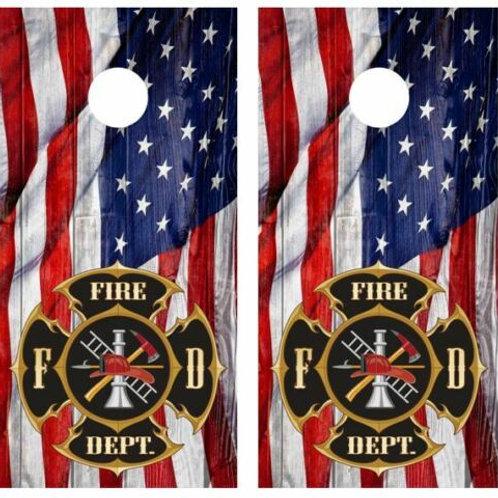 Cornhole Wood Board Skin WrapsAmericna Flag Fire Department Barnwood