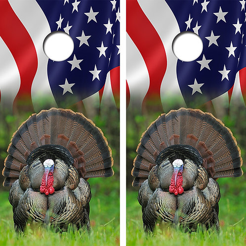 American Flag Turkey Cornhole Wood Board Skin Wraps FREE LAMINATE