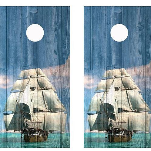 Tall Ship Full Sails Barnwood Cornhole Wood Board Skin Wrap