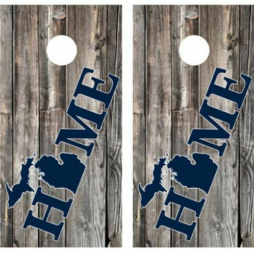 Michigan Home Barnwood Cornhole Wood Board Skin Wrap