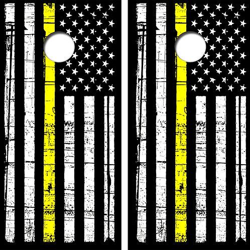 Yellow Line Flag Cornhole Wood Board Skin Wraps FREE LAMINATE