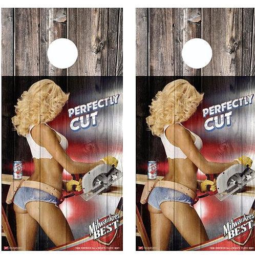 Milwaukkees Best Perfectly Cut Barnwood Cornhole Wood Board Skin Wr