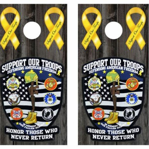 Support Our Troops Cornhole Wood Board Skin Wrap