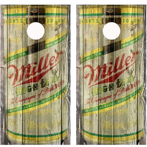 Vintage Miller High Life Beer - Beer Can Barnwood Cornhole Woo