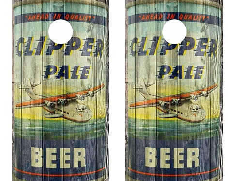 Vintage Clipper Pale Beer -  Beer Can Barnwood Cornhole Wood Board