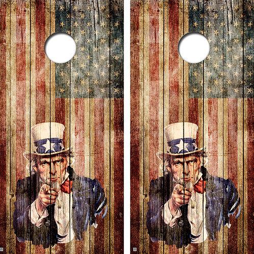 Uncle Sam Cornhole Board Skin Wraps FREE LAMINATE