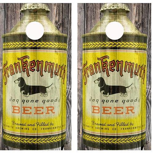 Vintage Frankenmuth Dog Gone Good Beer -  Beer Can Barnwood Cornhole Wood B