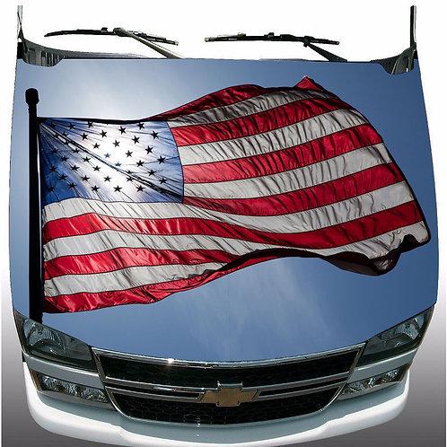 Patriotic American Flag Hood Wrap Vinyl Graphic Decal Sticker Wrap Car or Truck
