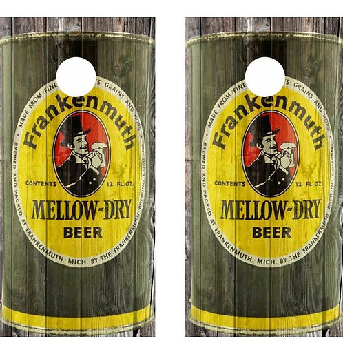 Vintage Frankenmuth Mellow-Dry Beer -  Beer Can Barnwood Cornhole Wood B