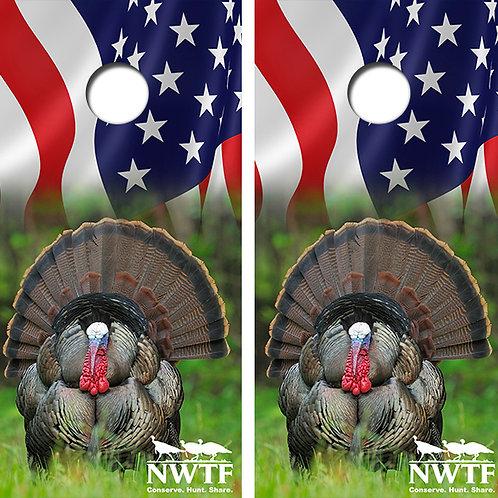NWTF Turkey Cornhole Wood Board Skin Wrap