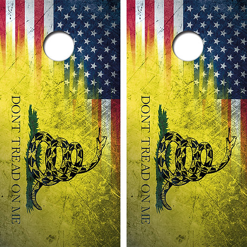 Don't Tread On Me Flag Cornhole Wood Board Skin Wraps FREE LAMINATE