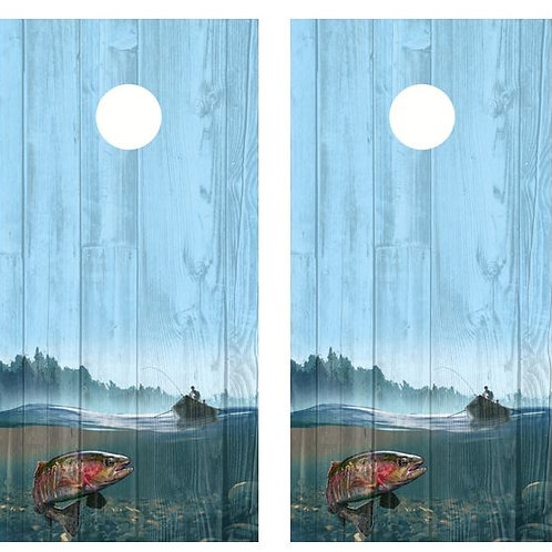 Trout Fishing Barnwood Cornhole Wood Board Skin Wrap