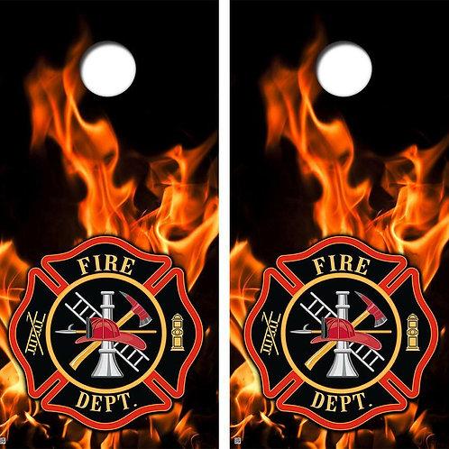 Firefighter Flames & Badge Cornhole Wood Board Skin Wrap