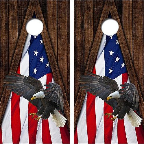 Eagle American Flag Cornhole Wood Board Skin Wraps FREE LAMINATE