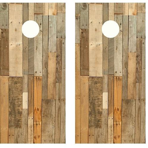 Multi colored Plank Wood Cornhole Wood Board Skin Wrap