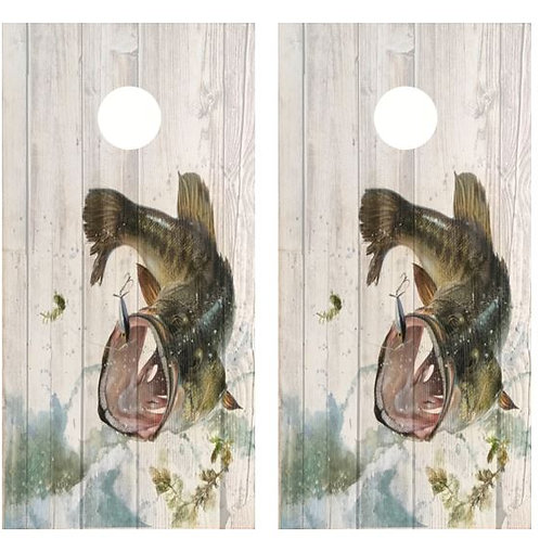 Leaping Bass Barnwood Cornhole Wood Board Skin Wrap