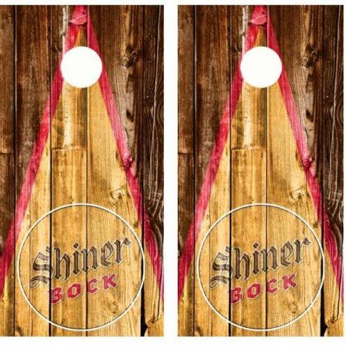Shiner Bock Beer Rustic Barnwood Cornhole Wood Board Skin Wraps