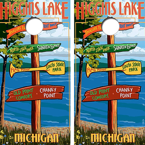 Higgins Lake Michigan Cornhole Wood Board Skin Wraps FREE LAMINATE