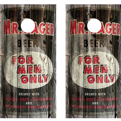Vintage Mr. Lager -  Beer Can Barnwood Cornhole Wood B