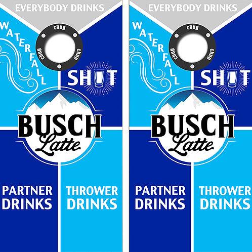 Busch Latte Cornhole Wood Board Skin Wraps FREE LAMINATE