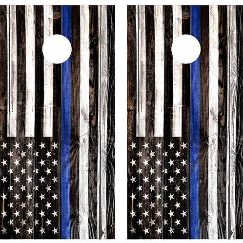 Blue Lives Matter Flag Barnwood Cornhole Wood Board Skin Wrap