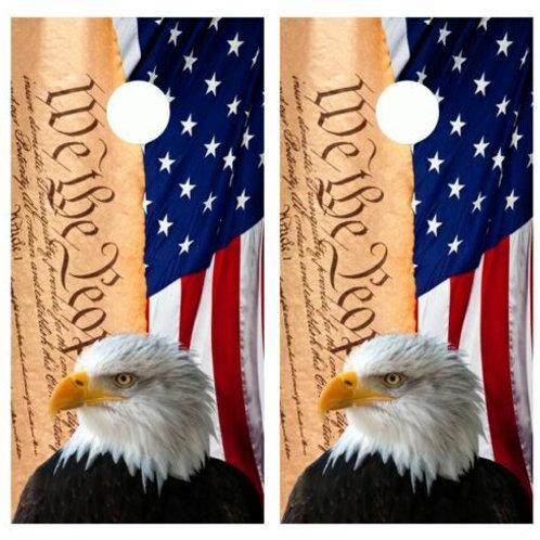We The People Eagle Flag Cornhole Wood Board Skin Wraps FREE LAMINA