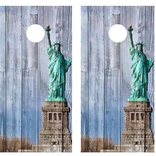 Statue of Liberty Cornhole Board Wraps FREE LAMINATE