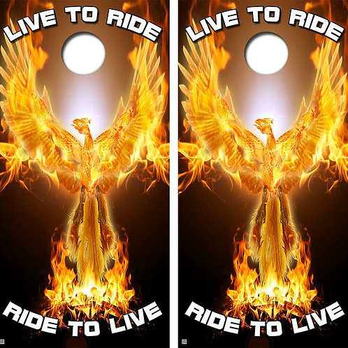 Live To Ride, Ride To Live Cornhole Wood Board Skin Wrap