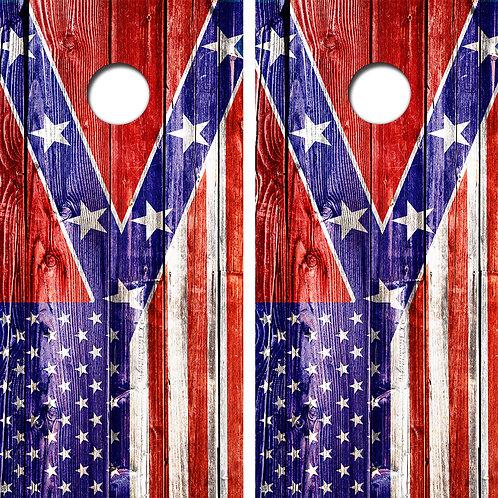 American Confederate Flag Cornhole Board Wraps FREE LAMINATE