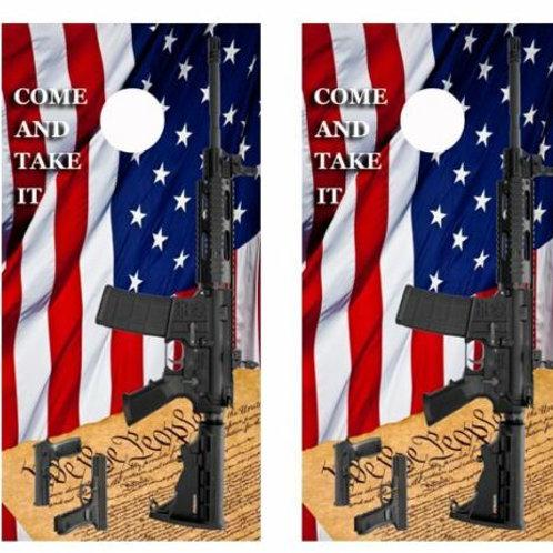 2nd Amendment/Gun Rights Cornhole Wood Board Skin Wraps FREE LAMINA