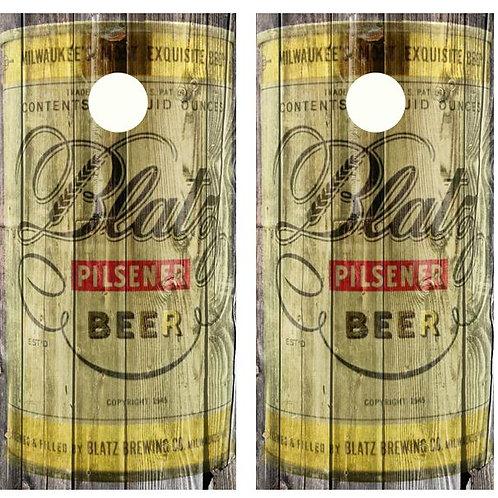 Vintage Blatz Pilsner Beer - Beer Can Barnwood Cornhole Woo