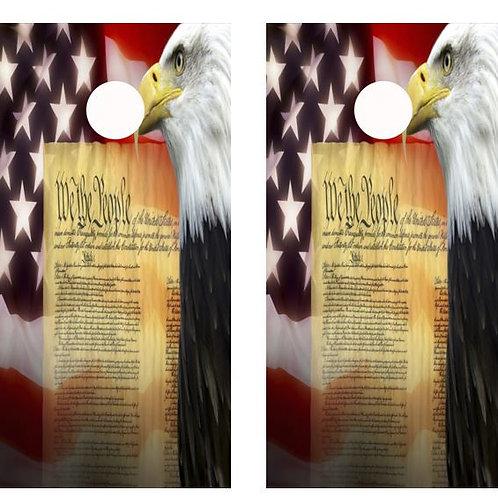 We The People Eagle, Flag Cornhole Wood Board Skin Wrap