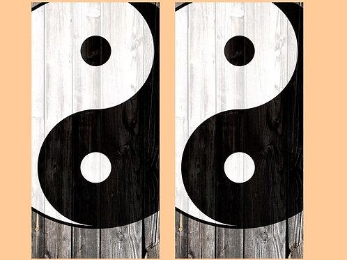 Yin Yang Symbol Barnwood Cornhole Wood Board Skin Wrap