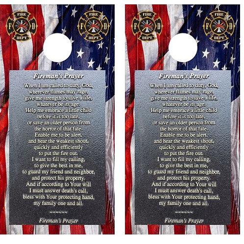 Fireman's Prayer Cornhole Wood Board Skin Wrap