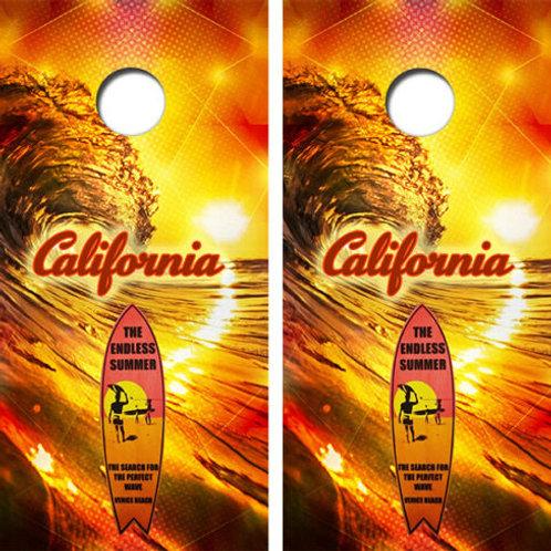 California Endless Summer Cornhole Wood Board Skin Wrap
