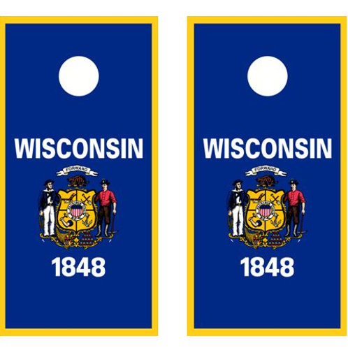 Wisconsin 1848 Cornhole Wood Board Skin Wra