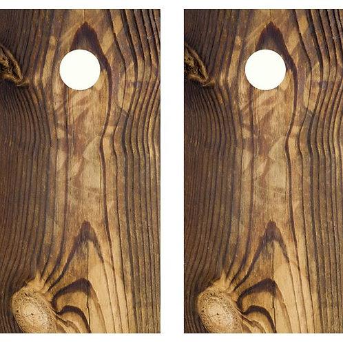 Dark Grain Wood Cornhole Wood Board Skin Wrap