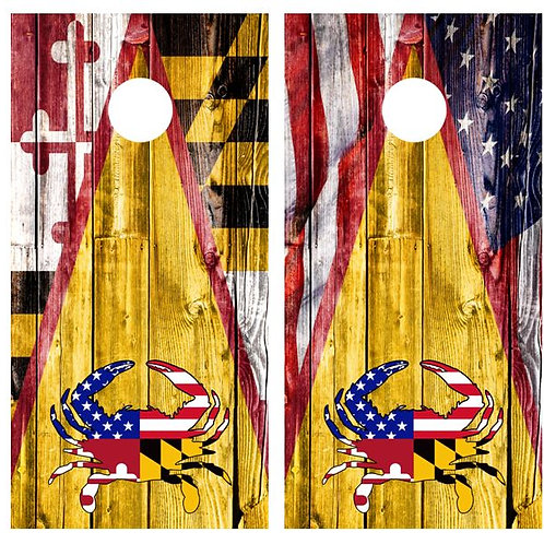Maryland Flag American Flag Crab Barnwood Cornhole Wood Board Skin Wrap