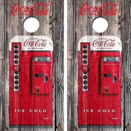 Coca Cola Vending Machine Cornhole Wood Board Skin Wraps FREE LAMINATE