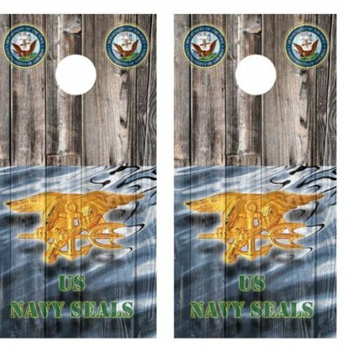 US Navy Seals Barnwood Cornhole Wood Board Skin Wrap