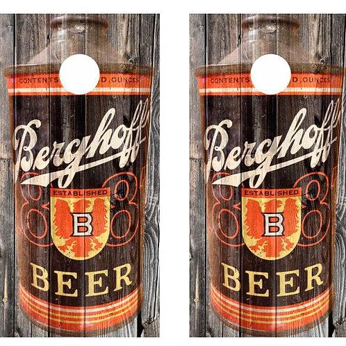 Vintage Berghoff Beer -  Beer Can Barnwood Cornhole Wood B