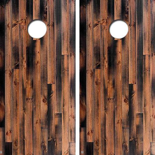 Burnt Black Pine Cornhole Wood Board Skin Wrap