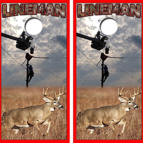 Lineman Deer Hunter Cornhole Wood Board Skin Wraps FREE LAMINATE