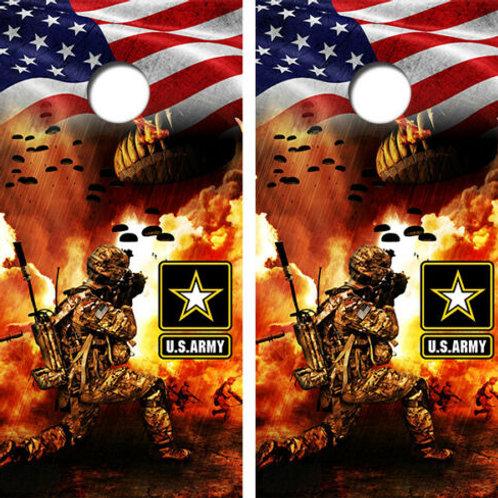 United States Army American Flag Cornhole Wood Board Skin Wraps