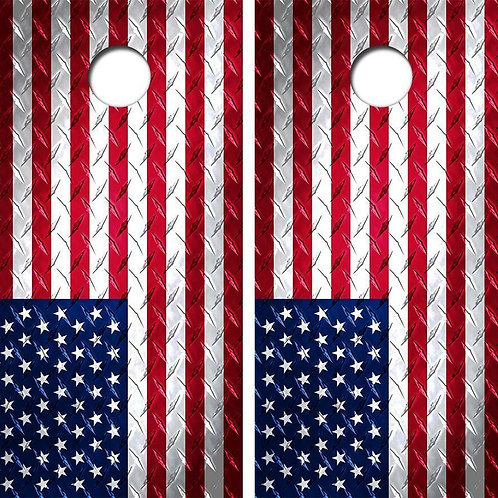 American Flag Diamond Plate Cornhole Wood Board Skin Wrap