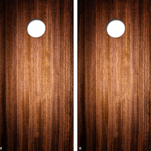 Dark Polished Wood Cornhole Board Skin Wraps FREE LAMINATE