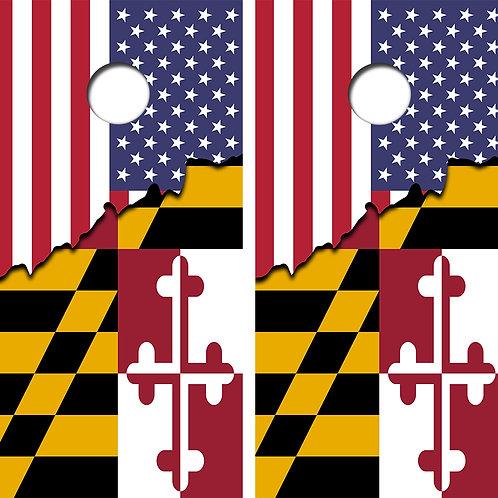 United States/Maryland Flag Cornhole Wood Board Skin Wraps FREE LAMINATE