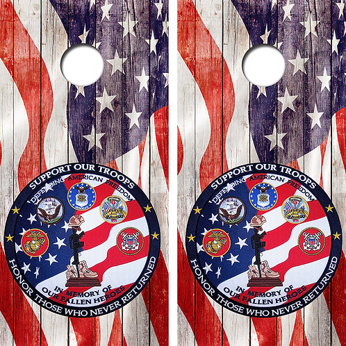 Support Your Troops Cornhole Wood Board Skin Wraps FREE LAMINATE