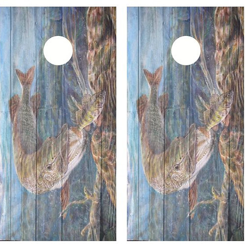 Northern Pike / Musky Barnwood Cornhole Wood Board Skin Wrap