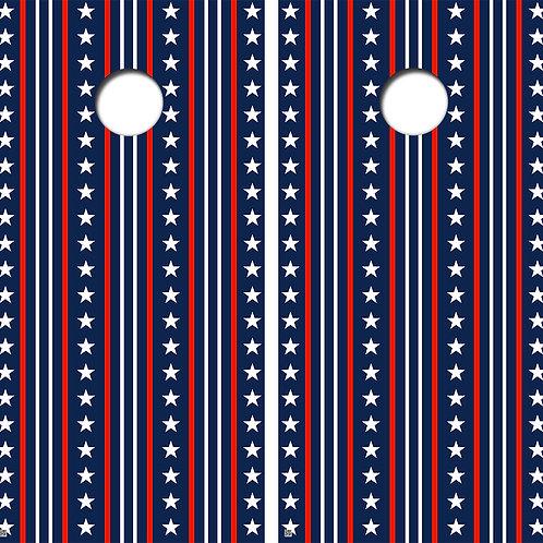 Stars and Stripes Cornhole Board Skin Wraps FREE LAMINATE